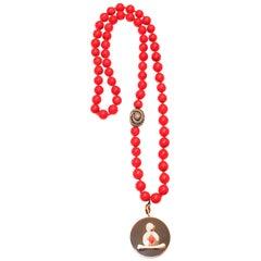 Clarissa Bronfman Ebony Buddha Pendant Beaded Necklace