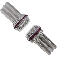 White Gold Diamond and Ruby Cuff Bracelet