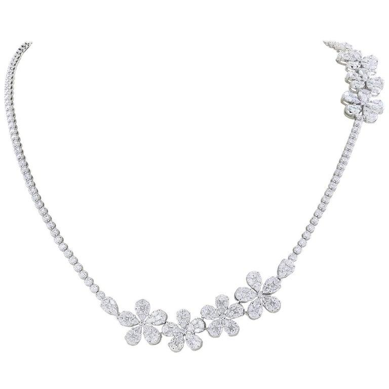 Diamond Necklace with Flower Motifs
