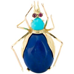 1950s Lapis Lazuli, Turquoise and Ruby 14 Karat Gold Insect Brooch