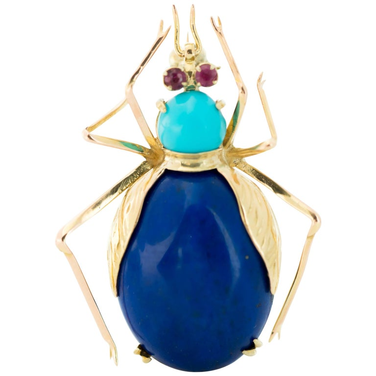 1950s Lapis Lazuli, Turquoise and Ruby 14 Karat Gold Insect Brooch For Sale