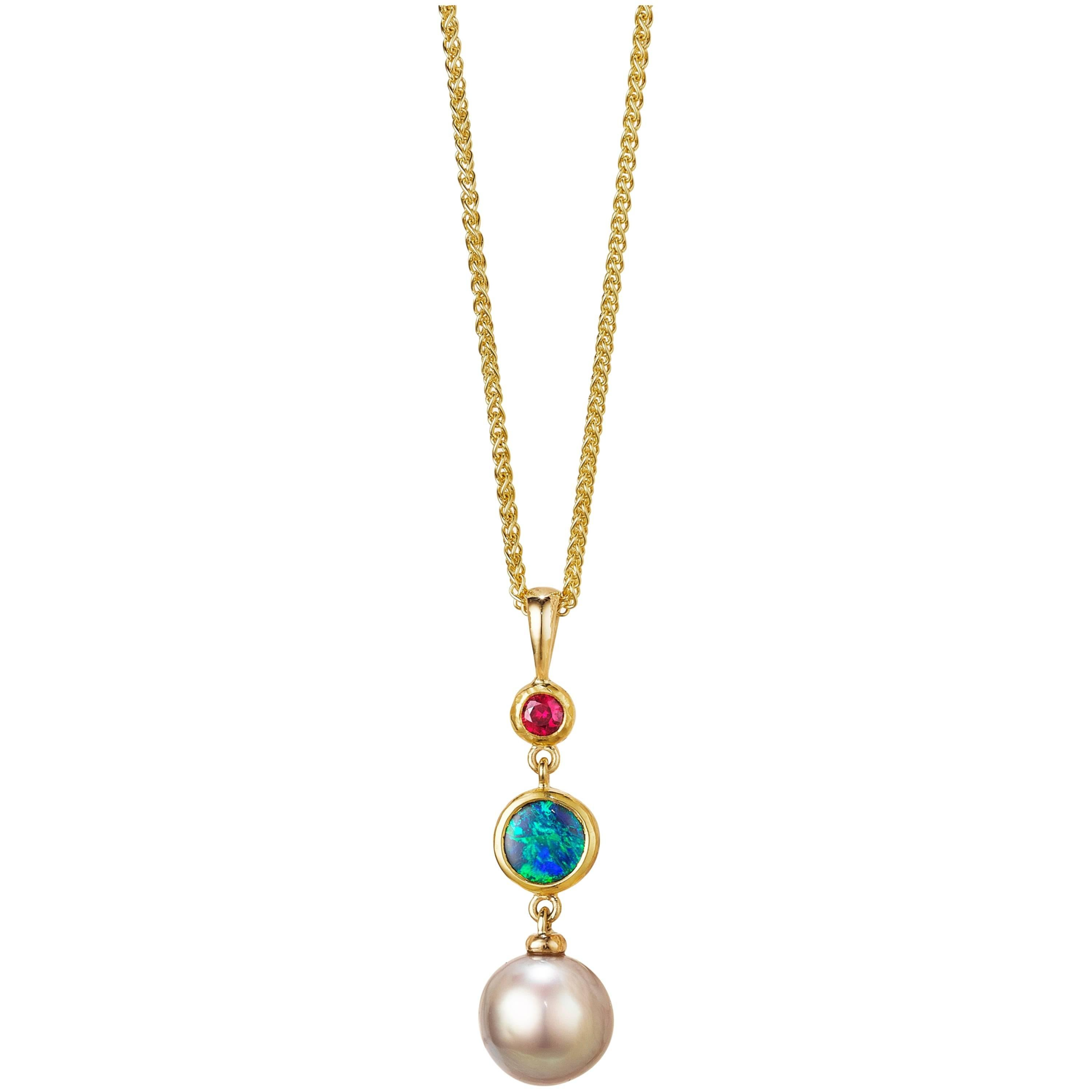 Solid Australian Opal, Sea of Cortez Pearl and Ruby 18K Pendant Necklace