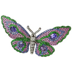 Multi Gem Butterfly Pin in 18 Karat White Gold