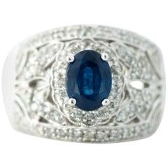 Sapphire and Diamond 14 Karat White Gold Ring