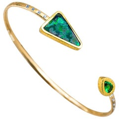 Australian Lightening Ridge Boulder Opal, Tsavorite and Diamond 18 Karat Cuff