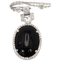 Art Deco Onyx Platinum Pendant Diamond Surround