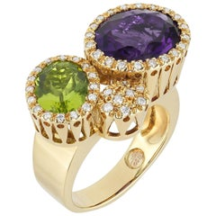 Ponte Vecchio Giollei Peridot, Amethyst and Diamond Ring