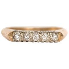 .15 Carat, Total Weight Diamond Yellow Gold Wedding Band