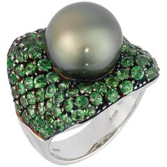 Black South Sea Pearl and Tsavorite Ring