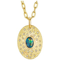 Large Solid Australian Opal, Diamond and 18 Karat Gold Pendant Necklace