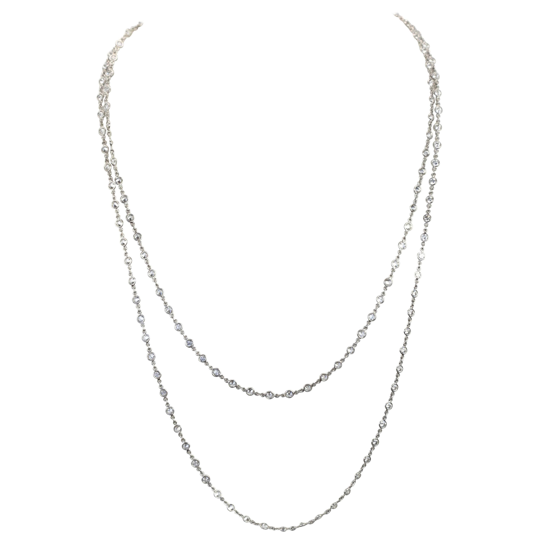 Diamond Platinum Diamond Long Chain Color F Clarity VS