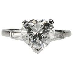 GIA 2.52 Carat Heart Shape Diamond in Platinum Ring