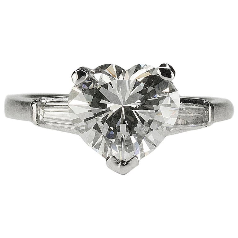 GIA 2.52 Carat Heart Shape Diamond in Platinum Ring For Sale