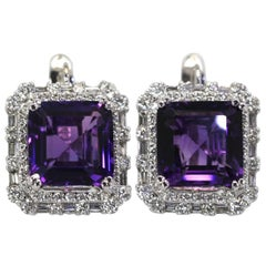 Deep Purple Amethyst 10 Carat Diamond Earrings 18 Karat White Gold