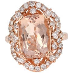 7.13 Carat Morganite Diamond Rose Gold Ring