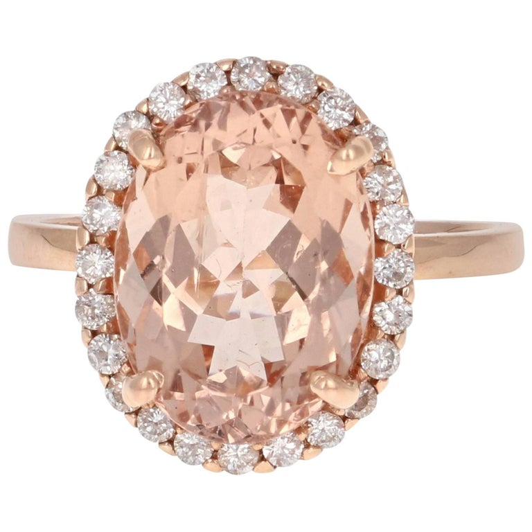 6.03 Carat Morganite Diamond Cocktail Ring
