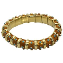 Tiffany & Co. Jean Schulmberger Iconic Copper Enamel Turquoise Bracelet
