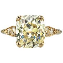 3.88 Carat Vintage Cushion Cut Engagement Ring