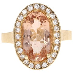 4.38 Carat Morganite Diamond Yellow Gold Ring