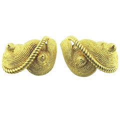 David Webb Sea Shell 18 Karat Yellow Gold Clip-On Earrings