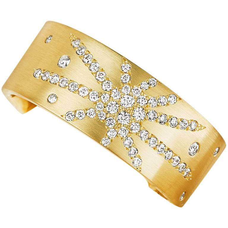 Canadian Diamond Micropavé Gold Band For Sale