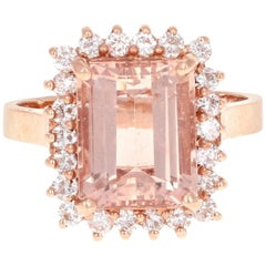 5.20 Carat Morganite Diamond Rose Gold Ring