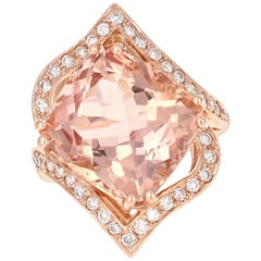14.24 Carat Morganite Diamond Rose Gold Ring