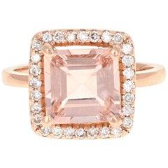3.96 Carat Morganite Diamond Rose Gold Ring