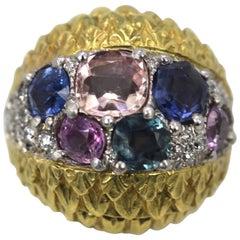 David Webb Fancy Sapphire Bombe Ring 6.55 Carat 18 Karat Platinum