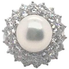 4.80 Carat Diamond Pearl Princess Dress Ring or Pendant