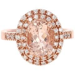 3.28 Carat Morganite Diamond Rose Gold Ring
