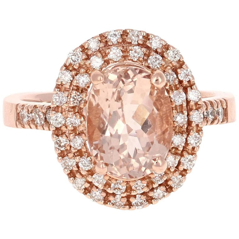 3.28 Carat Morganite Diamond Rose Gold Ring