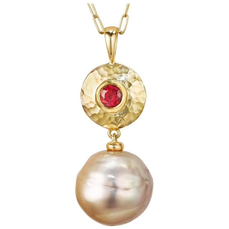 12 mm Violet Kasumi Japanese Pearl and Gemfields Ruby Pendant Necklace