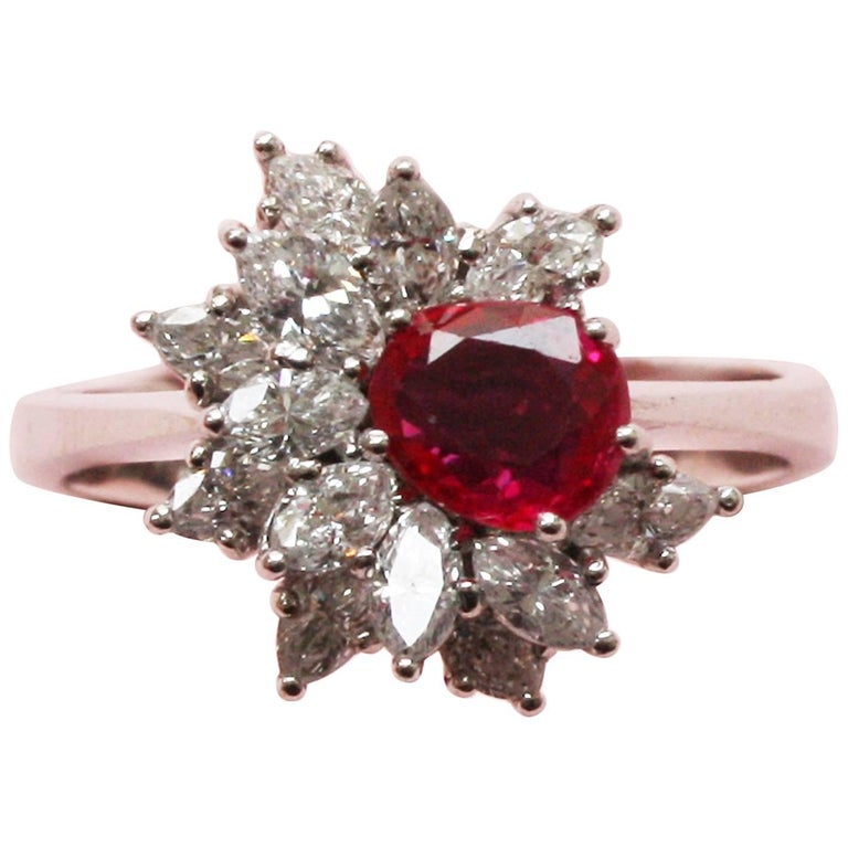Natural Ruby, Diamond and White Gold Ring