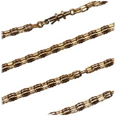 Antique French Neo-Medieval Gold Long Chain