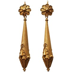 Antique English Regency Long Gold Earrings