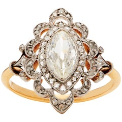 Edwardian Marquise and Rose Cut Diamond Ring