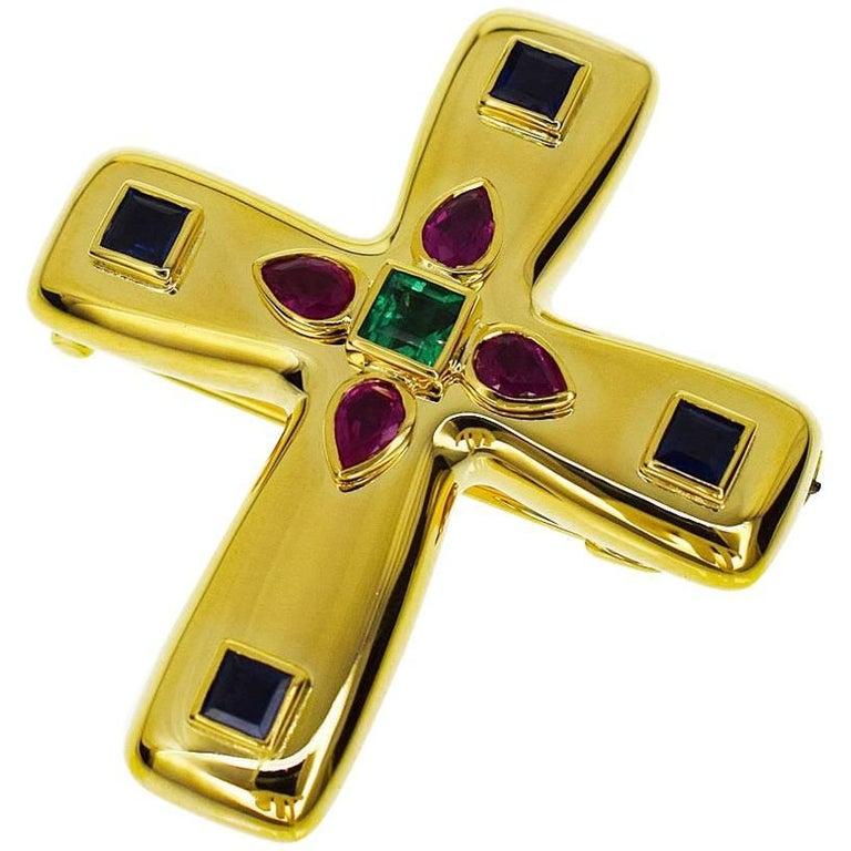 Cartier Byzantine Cross MM Brooch Pendant Top 18 Karat Yellow Gold, 1993