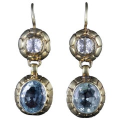 Antique Victorian 18 Carat Gold Aquamarine White Sapphire Earrings, circa 1900