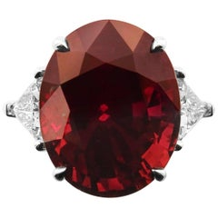 GRS Certified Red Ruby Oval with Diamonds Ring