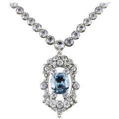 Antique French Victorian Blue White Topaz Necklace Collar, circa 1900