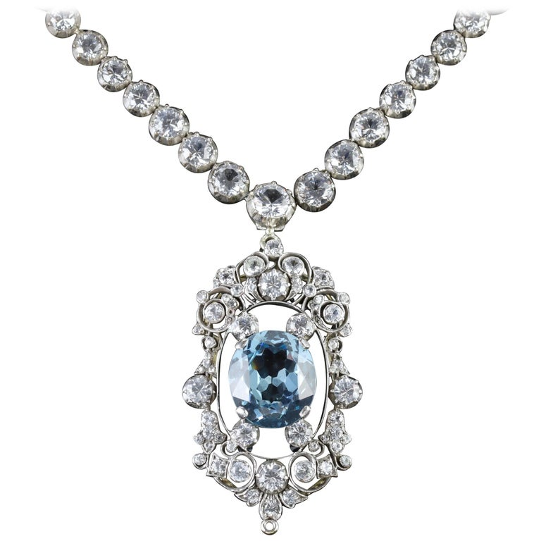 Antique French Victorian Blue White Topaz Necklace Collar, circa 1900