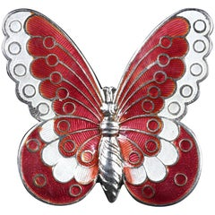 Antique Victorian Red White Enamel Butterfly Brooch, circa 1900