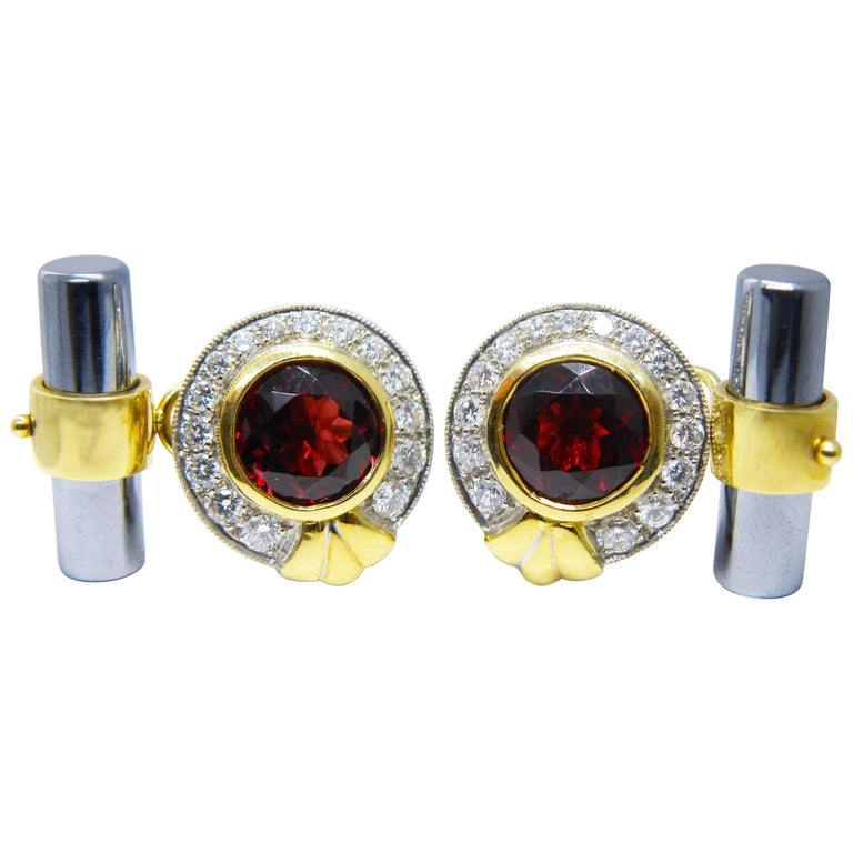 Red Garnet White Diamond Hematite Stick Back White Gold Setting Cufflinks