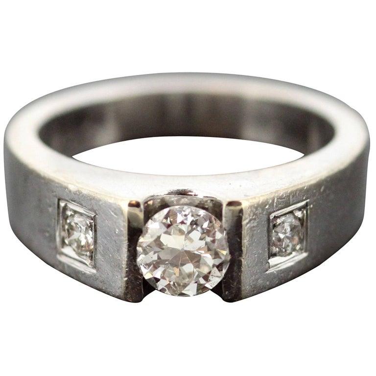 2159945b7d157 18 Karat White Gold Men's Pinky Ring with Diamonds 0.69 Carat Total, circa  1970s