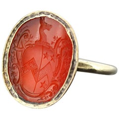 Victorian 15 Karat Yellow Gold Seal Ring with Carnelian, circa 1860s
