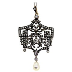18 Karat White Gold Ladies Necklace, Gold on Silver Pendant, Belle Époque Period
