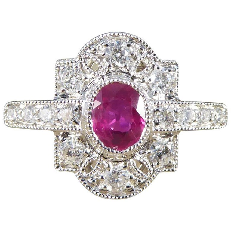 Art Deco Style Ruby Diamond 18 Carat White Gold Ring