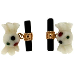 Yellow Gold Onyx White Agate Cufflinks