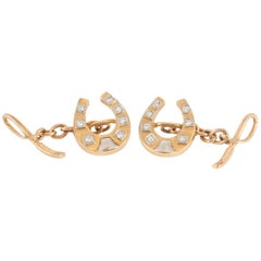 Cufflinks, 18 Carat Gold and Diamond Horseshoe and Whip, circa 1950